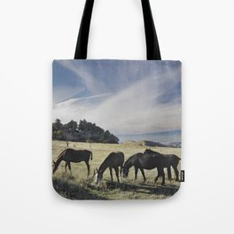 Free horses at the mountains Tote Bag