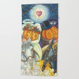 SLEEPY HOLLOW WEDDING - Brack Headless Horseman Halloween Art Beach Towel