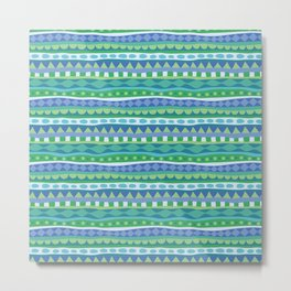 Stripey-Oceania Colors Metal Print