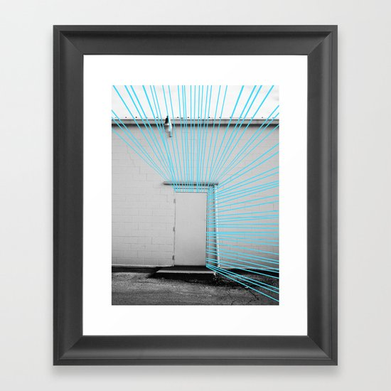 White Door, Blue Prism Framed Art Print