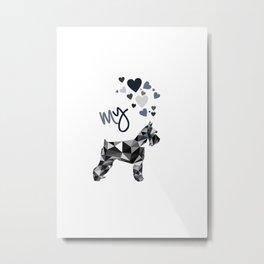 I love my schnauzer b&w (II) Metal Print