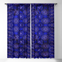 N128 - Royal Blue Traditional Oriental Moroccan Style Design  Blackout Curtain