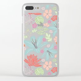 Teal blue and orange Japanese florals Clear iPhone Case