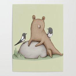 Bear & Birds Poster