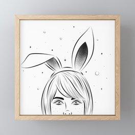 Woman with rabbit ears Framed Mini Art Print
