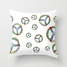 Peace Symbol in Flowers Throw Pillow