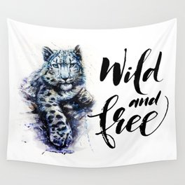 Snow leopard wild and free Wall Tapestry