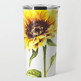 Watercolor Sunflower Travel Mug