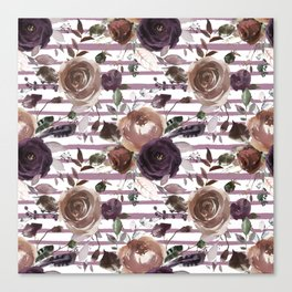 Lavender lilac brown watercolor botanical roses stripes Canvas Print