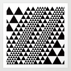 B/W equilateral triangles pattern Art Print