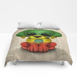 Cute Puppy Dog with flag of Ethiopia Comforters