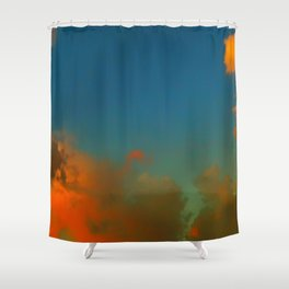 Orange and Blue Skies Shower Curtain