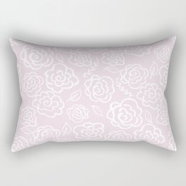 Floral Outlines - White/Blush Rectangular Pillow