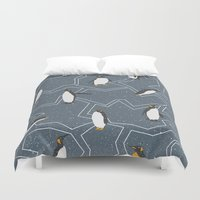 penguin Duvet Covers featuring Penguin by Julia Brnv
