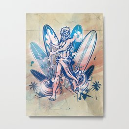 poseidon surfer on surfboard Metal Print