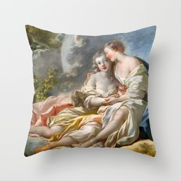 "Jean-Honoré Fragonard ""Jupiter Disguised As Diana Tries To Seduce Callisto"" Throw Pillow"