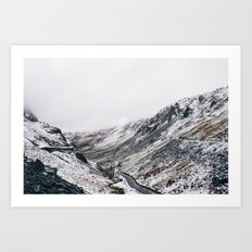Honister Pass covered in snow. Cumbria, UK. Art Print