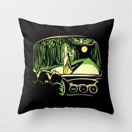 Creepy Woman car scene route scary green Throw Pillow