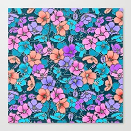 Modern abstract teal coral pink navy blue floral Canvas Print