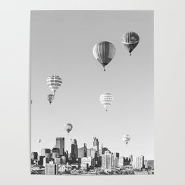 Another Minneapolis, Minnesota Skyline with Hot Air Balloons Over the City Poster