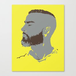 Bearded Man I - Yellow Canvas Print