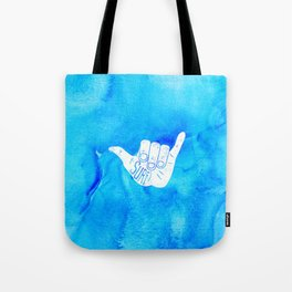 Surf Hang Loose Hawaiian Ocean Blue Hip Watercolor Tote Bag