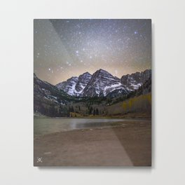Stars over the Maroon Bells Metal Print