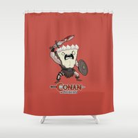 conan Shower Curtains featuring Conan The Bavarian by Bobby Baxter
