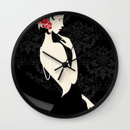 Woman in Black Wall Clock