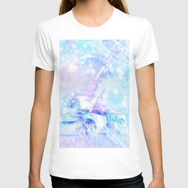 Old car in pink and blue space T-shirt