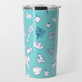 Pastel Vegetables & Herbs Pattern Travel Mug