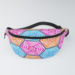 Hexagon Pattern (Bright Blue, Hot Pink, Orange) Graphic Flowers Fanny Pack