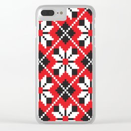 Slavik red, black and white floral cross stitch design pattern. Clear iPhone Case