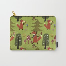 Happy foxes in the forest - Cute Fox Pattern Carry-All Pouch