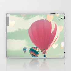 Hot air balloon nursery and heart bokeh on pale blue Laptop & iPad Skin