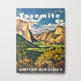 Yosemite National Park Vintage Travel Poster Landscape Illustration Metal Print