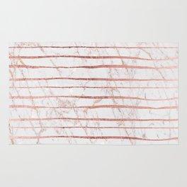 Stylish rose gold glitter stripes white marble pattern Rug
