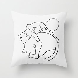 Cats line art 1 Throw Pillow