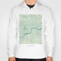 vintage map Hoodies featuring London Map Blue Vintage by City Art Posters