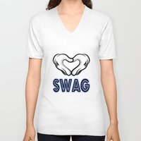 swag V-neck T-shirts featuring SWAG by Gold Blood