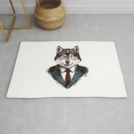 Strictly Business Wolf Rug