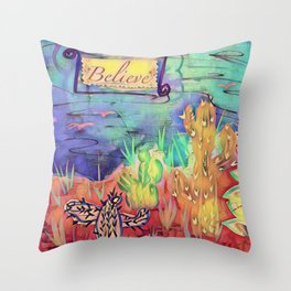 Believe Mixed Media Original Art Throw Pillow