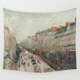 Mardi Gras on Monmartre Boulevard in Paris by Camille Pissarro Wall Tapestry