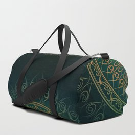 """Dark Clover Green & Gold Mandala Deluxe"" Duffle Bag"