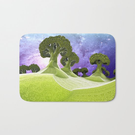 Broccoli Planet / / #fractal #fractals #3d Bath Mat