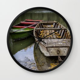 Rowboats On The Water In Autumn Wall Clock