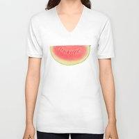 watermelon V-neck T-shirts featuring Watermelon by Cassia Beck