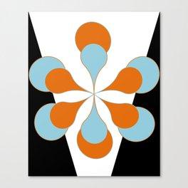 Mid-Century Modern Art 1.4 Aqua Orange Flower Canvas Print