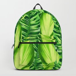 Retro Tropical Leaves in Green Backpack