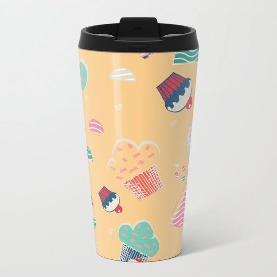 Cupcake yellow Metal Travel Mug